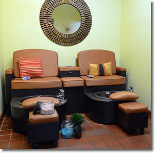 Pedicure luxury awaits you at the Tangerine Salon.